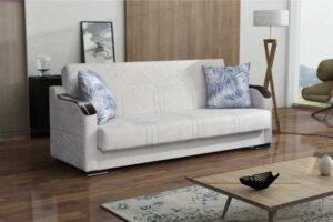 ספה דו מושבית לבן, נפתחת למיטה